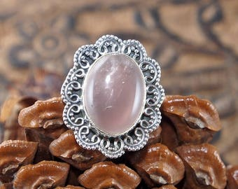 Natural Rose Quartz Handmade Indian 925 Sterling Silver, Genuine Ring, Birthday and holiday Gift, US Size 5 1/2 ,J252