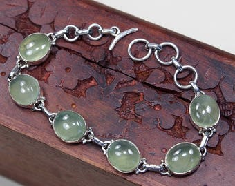 "Green Prehnite Bracelet, 925 Sterling Silver,Genuine Natural Prehnite Jewelry,Gift for her, jewelry Party Birthday Gift 7 1/4"" S996"