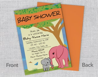 5x7 Elephant Baby Shower Invitations