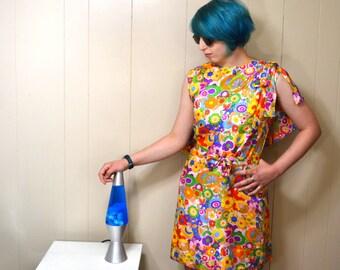 Vintage Psychedelic Hippie Dress, Flower Power Dress, 1960s Silk Dress by Pattullo Jo Copeland, Size Small Sleeveless Summer Dress 371