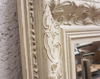 Handcrafted Mirror ornate white/cream floral shabby chic many sizes available solid wood