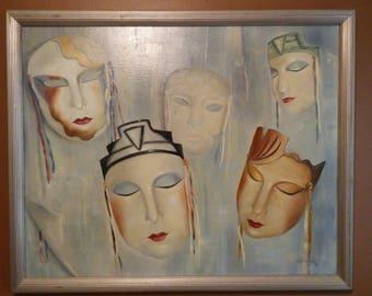 Original Carolyn Saine Painting - Masks