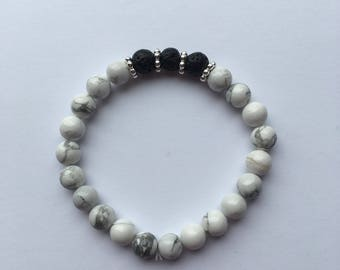 White Howlite Lava Rock Essential Oil Diffuser Bracelet