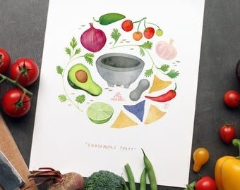 Guacamole Art Print | Recipe Wall Art | 8x10 Illustration | Kitchen Decor