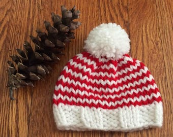 Red and White Striped Christmas Chunky Knit Beanie Hat Pom Pom - Newborn, Baby,Toddler, Child