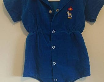 spring sale Vintage 60s 70s velvet baby romper, electric blue with carousel embroidery