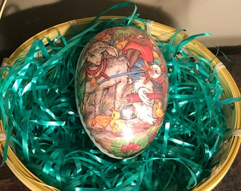 Large Vintage German Paper Mache Easter Egg Candy Containers, Vintage Easter Decor, Retro Easter Basket stuffers