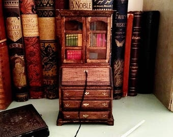 SOLD - Vintage bookshelf decor, mini antique library desk with books, working drawers and doors, literary gift for bibliophiles, librarians