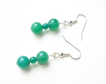 Aventurine Earrings - Green Aventurine and Silver Earrings - Stone Healing