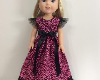 """Hot pink leopard print long dress fits 14.5"""" Wellie Wishes doll"""