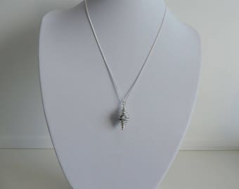 Sterling Silver Cage and Pearl Pendant