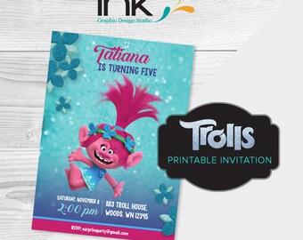 Trolls Invitation - Birthday Invitation - Instant Download - Edit Yourself - Trolls Party - Trolls Birthday - Poppy Birthday Party - Poppy