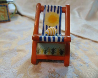 Fold up beach chair with sea shell trinket trinket box