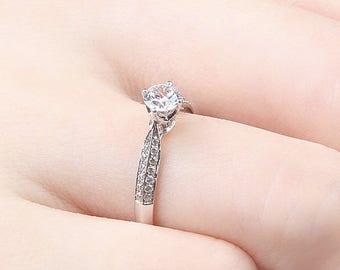 0.5 carat Brilliant Moissanite  Engagement ring in 14k white gold, Bridal Ring,Diamond Alternative engagement ring