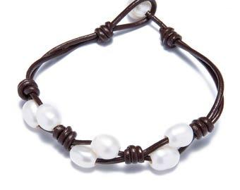 Hand made friendship bracelet - pearl leather woven bracelets - white pearl bracelet - bridesmaid bracelet - freshwater pearl jewelry