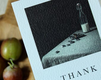 Thank you cards//rustic style//farmhouse//Pack of 5 milk bottle still life thank you postcards with envelopes//art cards // still life photo