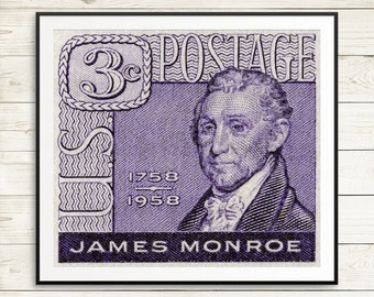 Large poster art, US history, James Monroe, US president, United States history, USA Stamp Art, Us postage, postage stamps, postage art