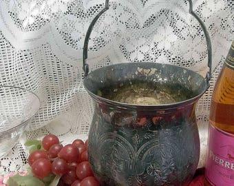 Vintage Silver Plate Chased Wine/ Champagne Cooler,  Ice Bucket w/ Handle, Original Insert, Signed Leonard, Formal Floral Vase, Barware