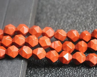 Natural Red Jasper Faceted Star Cut Nugget Beads 8mm 10mm , 15 inch 1 strands