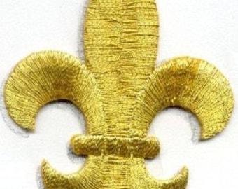 FLEUR DE LIS gold iron on patch applique