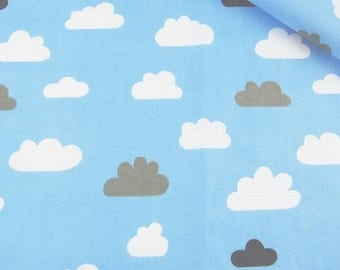 Cotton Fabric, Quilting Print Fabric,Clouds Fabric , Blue Pink Fabric , Fabrics by the Yard-Half Yard