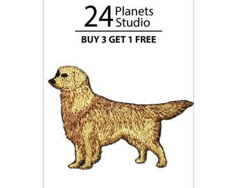 Golden Retriever Iron on Patch by 24PlanetsStudio Cute Applique Cute Patch dog patch dogs