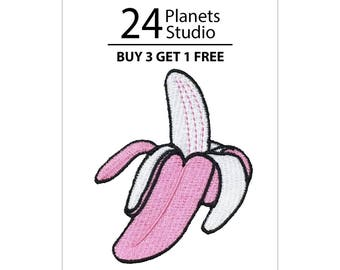 Pink Banana Iron on Patch by 24PlanetsStudio