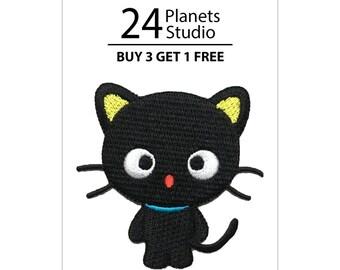 Black Kitten Iron on Patch by 24PlanetsStudio