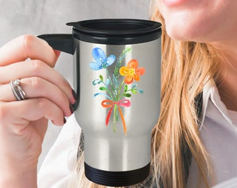 Watercolor Flowers Grace Insulated Stainless Steel Travel Coffee Mug With Lid Sweet Watercolor Flowers An Adorable Way to Say You Care