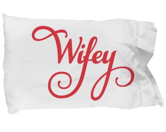 Pillowcase WIFEY Lovely Script Bedding Anniversary Decor Bridal Wedding Birthday Decorative