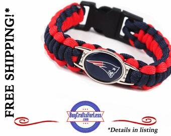 NeW ENGLaND Football PARACORD BRaCELET, 2 CLOSURES, **FAST & FReE SHiPPiNG**