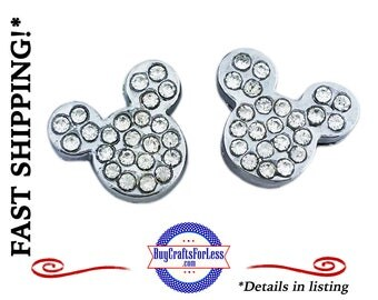 MOUSE Rhinestone Cartoon SLIDER Charm for 8mm Bracelets, Collars, Key Rings  4 Colors +FREE Shipping & Discounts*
