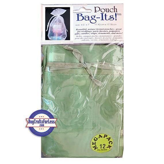 """Sheer Organza Bag-its, 12 pcs 4 1/2"""" x 7"""", Olive +FREE SHIPPING & Discounts*"""