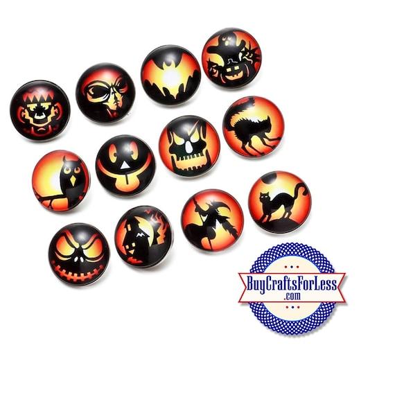 SNAP HALLOWEEN Buttons, 18mm INTERCHaNGABLE Buttons, 12 designs +FREE Shipping & Discounts