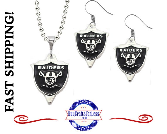 "OAKLAND FooTBALL CHaRM EARRiNGS or PENDaNT with 24"" Ball Chain - Super NiCE! +FREE SHiPPING & Discounts*"