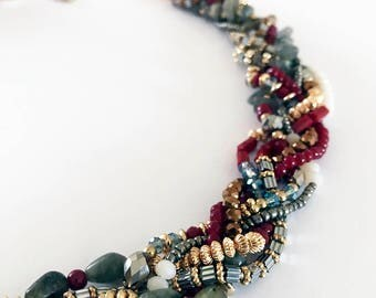 Multicolored Beaded Twist Statement Necklace