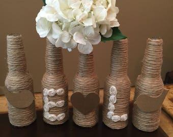 5-Piece, Personalized vase, Rustic wedding decor, rustic home decor, Farm Decor, Shabby-chic, glass vases, personalized decor, wedding decor