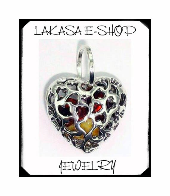 Beautiful Heart Baltic Amber Sterling Silver Jewelry Best Gift ideas Birthday Mother Day Anniversary Woman Girl Friendship Love Valentine