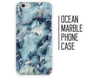 Ocean Marble Phone Case - Blue Marble - iPhone X 8 Plus 7 6 6s 5 5s 5c SE + Samsung S6 S7 S8+