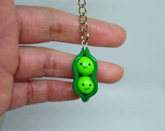 Two peas in a pod, Kawaii peas, Valentines day gift, Keychain, Polymer clay charm