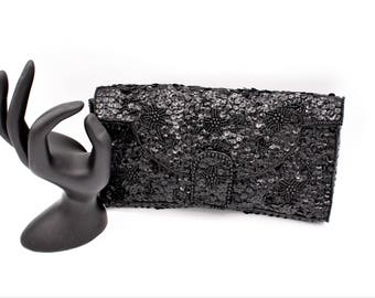 Black Sequin and Beaded Floral Envelope Clutch