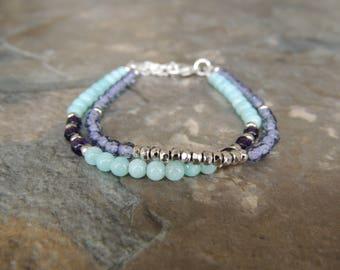Layered Bracelet, Amazonite Bracelet, Light Blue Bracelet for Her, Purple Boho Bracelet for Women, Gemstone Bracelet, Multistrand Bracelet