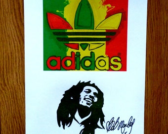 Bob marley adidas trainers shoes vintage retro rasta flag colours illustrated stencil graphic art poster print A4