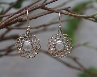 Silver Filigree Spiral Moonstone Drop Earrings