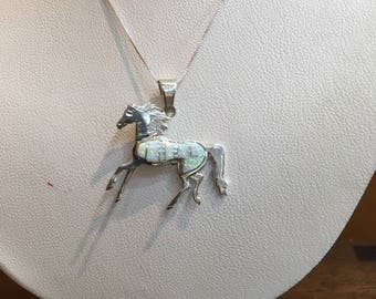 Native American Opal Inlay Horse Pendant