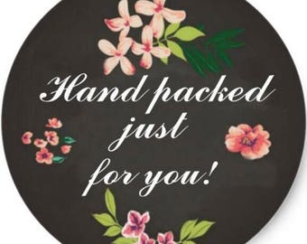 """24 PCS """"Hand packed just for you!"""" sticker, Seals, Scrapbook Supplies, Stationary, Paper, Paper Stickers, Stickers, Paper Supplies"""