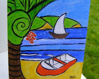 PAINTING ACRYLIC PACIFIC - PACIFIC BEACH PAINTING BEACH SIGN LISTING DROUOT LODYA