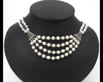 Marcasite and Prearls necklace, Three Strands of South African Fresh Water Pearls with Marcasite Components and Oxidized Silver Beads