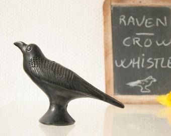 Raven bird whistle, black ceramic bird call, crow or raven