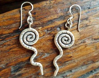 Spiral Drops Fine silver earrings